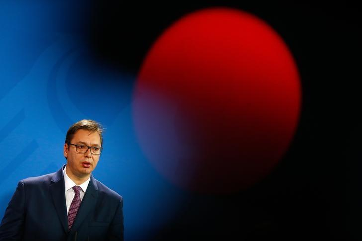 Serbian Prime Minister Aleksandar Vucic gives a statement before talks with German Chancellor Angela Merkel at the Chancellery in Berlin, Germany, March 14, 2017.      REUTERS/Fabrizio Bensch/Files