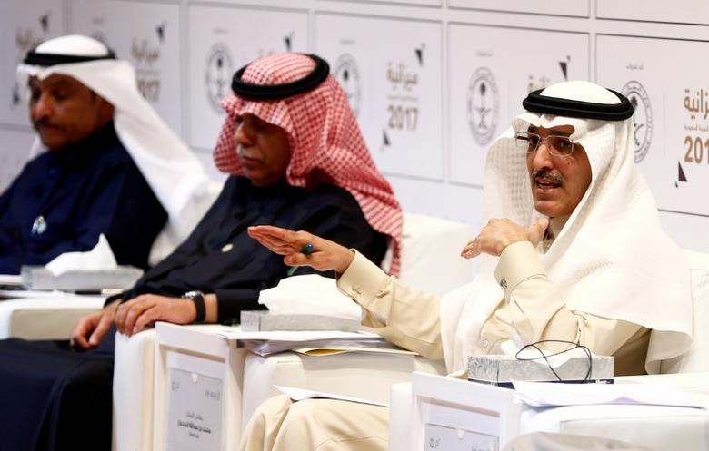 FILE PHOTO: Saudi minister of finance Mohammed Al-Jadaan gestures during the 2017 budget news conference in Riyadh, Saudi Arabia December 22, 2016. REUTERS/Faisal Al Nasser