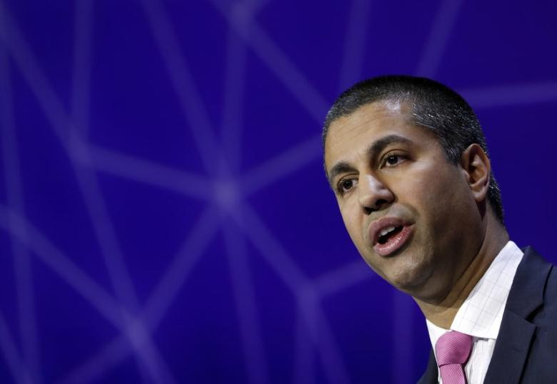 Ajit Pai, Chairman of U.S Federal Communications Commission, delivers his keynote speech at Mobile World Congress in Barcelona, Spain, February 28, 2017. REUTERS/Eric Gaillard