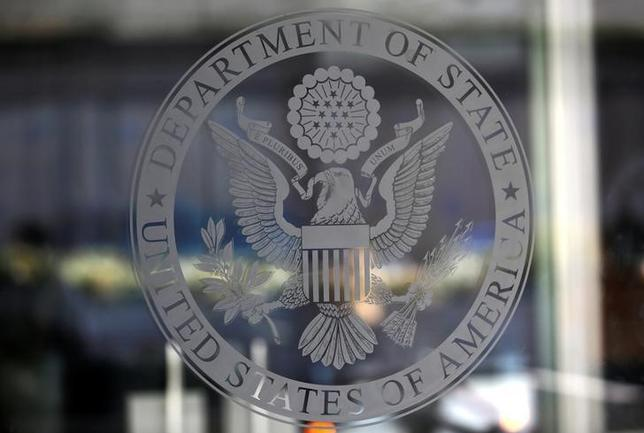 The seal of the United States Department of State is seen in Washington, U.S., January 26, 2017.      REUTERS/Joshua Roberts