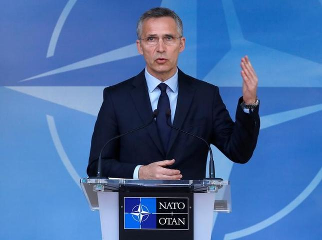NATO Secretary General Jens Stoltenberg holds a news conference ahead of the NATO foreign ministers meeting at the Alliance's headquarters in Brussels, Belgium March 31, 2017. REUTERS/Yves Herman