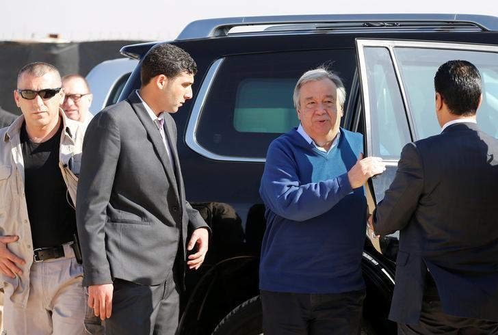 United Nations Secretary General Antonio Guterres (2nd R) exists a car during his visit to Al Zaatari refugee camp in the Jordanian city of Mafraq, near the border with Syria March 28, 2017. REUTERS/Ammar Awad