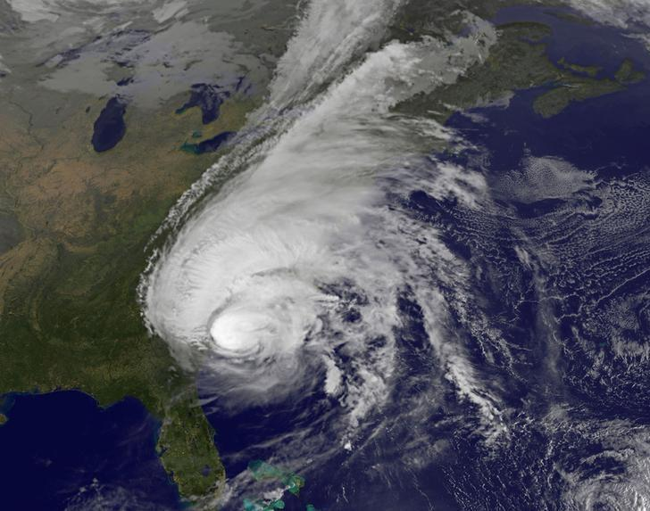 FILE PHOTO - Hurricane Matthew is pictured along the southeastern U.S. coast by NASA's NOAA's GOES-East satellite at 7:45 a.m. EDT on on October 8, 2016.  Courtesy NASA/NOAA GOES Project/Handout via REUTERS
