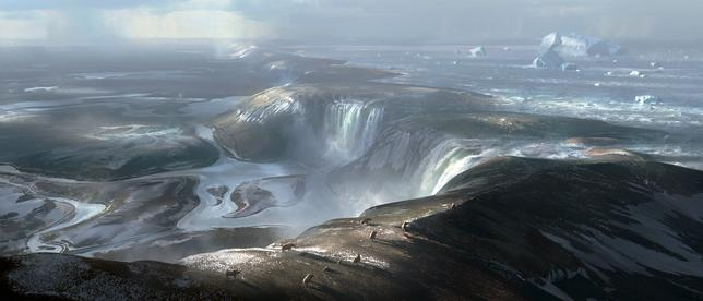An illustration of what the land bridge connecting Britain to Europe may have looked like before the formation of the Dover Strait is seen in an image handed out by Imperial College London April 4, 2017. The foreground is around where the port of Calais is today and way in the distance (the background of this illustration) is early Britain. Huge waterfalls cascading over the land bridge represents the beginning of physical separation of Britain from Europe. Imperial College London/Chase Stone handout via REUTERS
