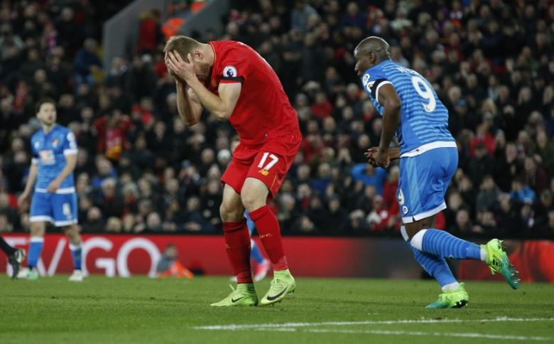 Britain Soccer Football - Liverpool v AFC Bournemouth - Premier League - Anfield - 5/4/17 Liverpool's Ragnar Klavan looks dejected after a missed chance Reuters / Andrew Yates Livepic