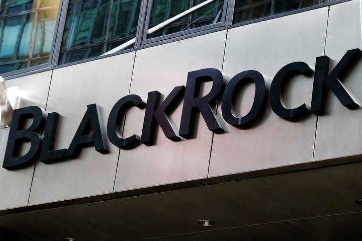 FILE PHOTO - The BlackRock logo is seen outside of its offices in New York City, U.S. on October 17, 2016.  REUTERS/Brendan McDermid/File Photo