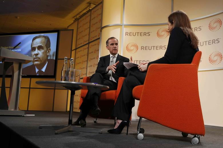 Mark Carney, Governor of the Bank of England, speaks during a question and answer session with Reuters Global Editor Alessandra Galloni at a Reuters Newsmaker event in London, Britain April 7, 2017.  REUTERS/Peter Nicholls
