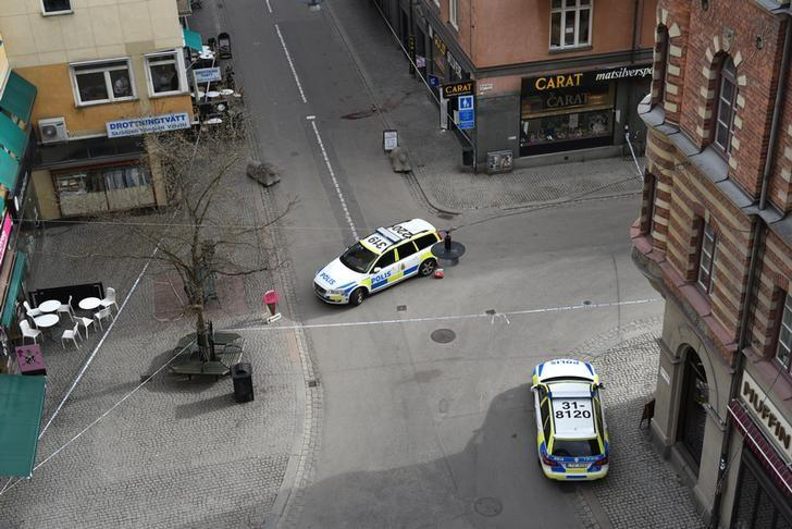 A view of the street near the site were a truck was driving into a crowd in central Stockholm, Sweden, April 7, 2017. REUTERS/Per Haljestam