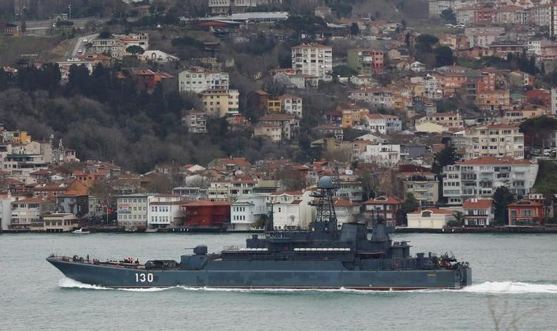 The Russian Navy's large landing ship Korolev sails in the Bosphorus, on its way to the Black Sea, in Istanbul, Turkey, February 11, 2017. REUTERS/Murad Sezer