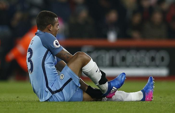 Britain Football Soccer - AFC Bournemouth v Manchester City - Premier League - Vitality Stadium - 13/2/17 Manchester City's Gabriel Jesus sustains an injury Reuters / Peter Nicholls/ Livepic/Files