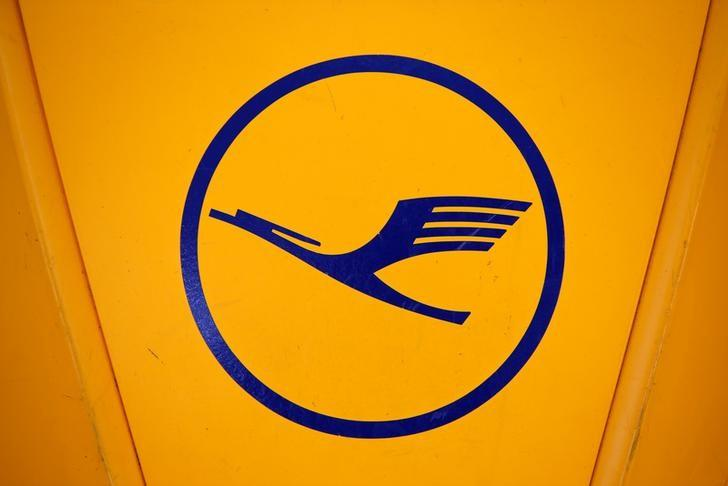 A logo of German airline Lufthansa is seen before the company's annual news conference at the airport in Munich, Germany, March 16, 2017. REUTERS/Michaela Rehle