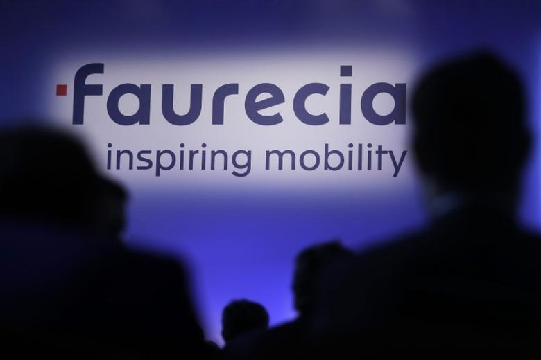The logo of French car parts supplier Faurecia is pictured during the company's 2016 annual results presentation in Paris, France, February 9, 2017.  REUTERS/Philippe Wojazer