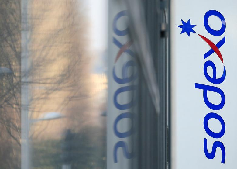 FILE PHOTO: The logo of French food services and facilities management group Sodexo is seen at the company headquarters in Issy-les-Moulineaux near Paris, France, March 18, 2016.  REUTERS/Gonzalo Fuentes/File Photo                  GLOBAL BUSINESS WEEK AHEAD - SEARCH GLOBAL BUSINESS 10 APRIL FOR ALL IMAGES