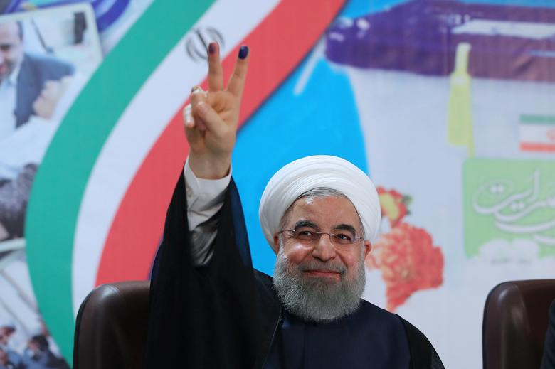 Iran's President Hassan Rouhani gestures as he registers to run for a second four-year term in the May election, in Tehran, Iran, April 14, 2017. President.ir/Handout via REUTERS ATTENTION EDITORS - THIS PICTURE WAS PROVIDED BY A THIRD PARTY. FOR EDITORIAL USE ONLY. NO RESALES. NO ARCHIVE. TPX IMAGES OF THE DAY