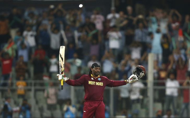 Cricket - West Indies v England - World Twenty20 cricket tournament - Mumbai, India, 16/03/2016. West Indies Chris Gayle celebrates scoring his century.  REUTERS/Danish Siddiqui/Files