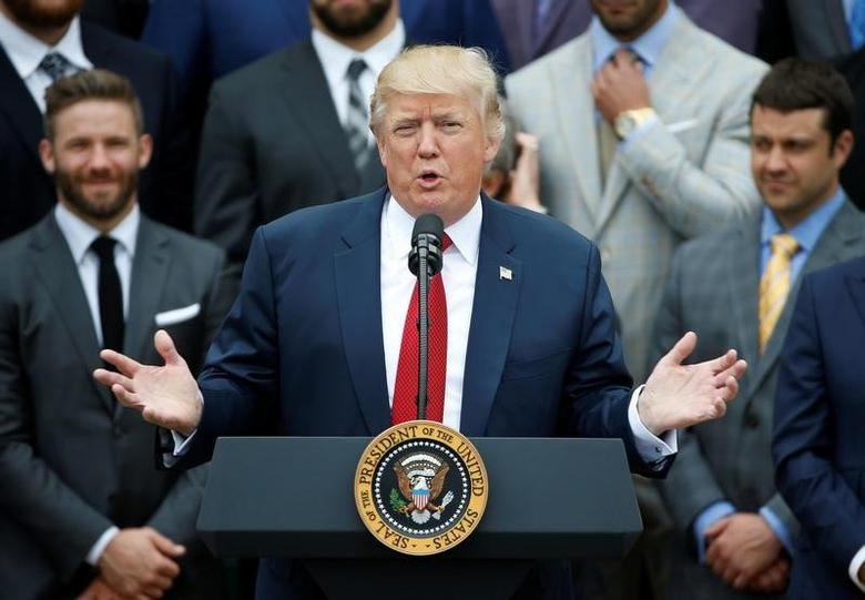 U.S. President Donald Trump honors the Super Bowl champion New England Patriots at the White House in Washington, U.S., April 19, 2017. REUTERS/Joshua Roberts