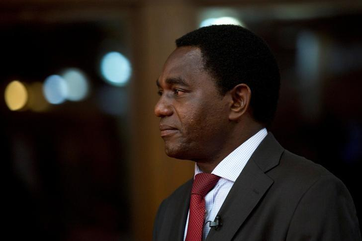 FILE PHOTO -  Opposition leader for National Development (UPND) Hakainde Hichilema is pictured during a break from a live television debate in Lusaka, Zambia January 15, 2015.  REUTERS/Rogan Ward/File Photo