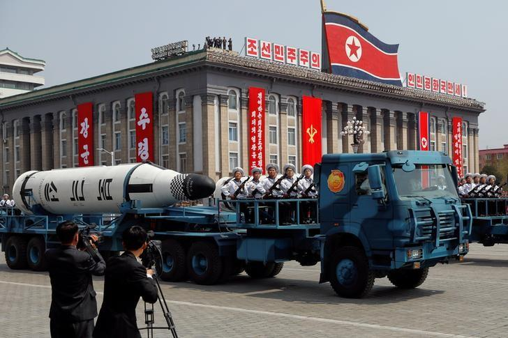 FILE PHOTO: A North Korean navy truck carries the 'Pukkuksong' submarine-launched ballistic missile (SLBM) during a military parade marking the 105th birth anniversary of country's founding father, Kim Il Sung in Pyongyang, April 15, 2017.    REUTERS/Damir Sagolj/File Photo