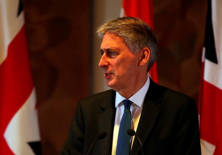 Britain's Chancellor of the Exchequer Philip Hammond speaks during a news conference in New Delhi, India April 4, 2017. REUTERS/Altaf Hussain
