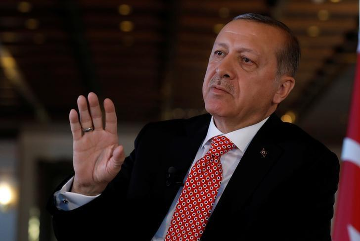 Turkish President Tayyip Erdogan attends an interview with Reuters at the Presidential Palace in Ankara, Turkey, April 25, 2017. REUTERS/Umit Bektas