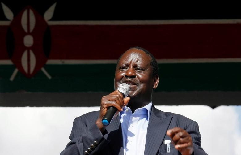 Kenyan opposition leader Raila Odinga addresses striking doctors at the Uhuru Park as they wait for the release of jailed officials of the national doctors' union following their case to demand fulfilment of a 2013 agreement between their union and the government that would raise their pay and improve working conditions, in Nairobi, Kenya February 15, 2017. REUTERS/Thomas Mukoya/Files