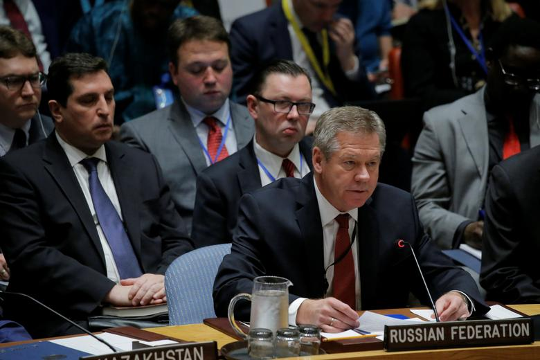 Russian Deputy Minister of Foreign Affairs Gennady Gatilov speaks during a Security Council meeting on the situation in North Korea at the United Nations (UN) in New York, U.S., April 28, 2017. REUTERS/Lucas Jackson