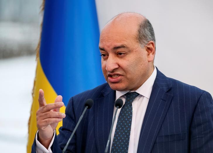 FILE PHOTO: President of the European Bank for Reconstruction and Development (EBRD) Sir Suma Chakrabarti delivers a speech during a ceremony to unveil the 'New Safe Confinement' (NSC) arch, that will block radiation from the damaged reactor, at the Chernobyl nuclear power plant, Ukraine November 29, 2016.  REUTERS/Gleb Garanich