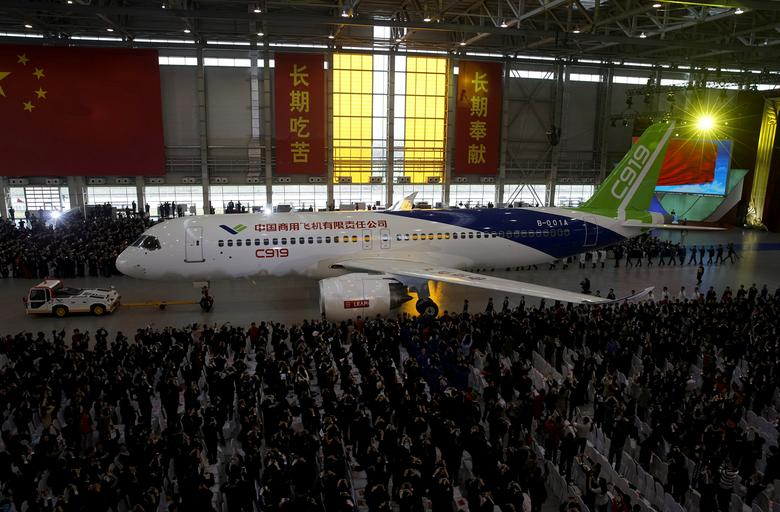 FILE PHOTO: The first C919 passenger jet made by the Commercial Aircraft Corp of China (Comac) is pulled out during a news conference at the company's factory in Shanghai, November 2, 2015.  REUTERS/Stringer/File Photo CHINA OUT. NO COMMERCIAL OR EDITORIAL SALES IN CHINA