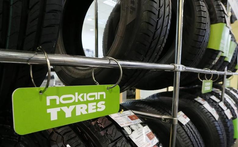 Nokian tyres are pictured on display at the ''Krepost'' Toyota dealership in Russia's Siberian city of Krasnoyarsk, August 8, 2014. F REUTERS/Ilya Naymushin