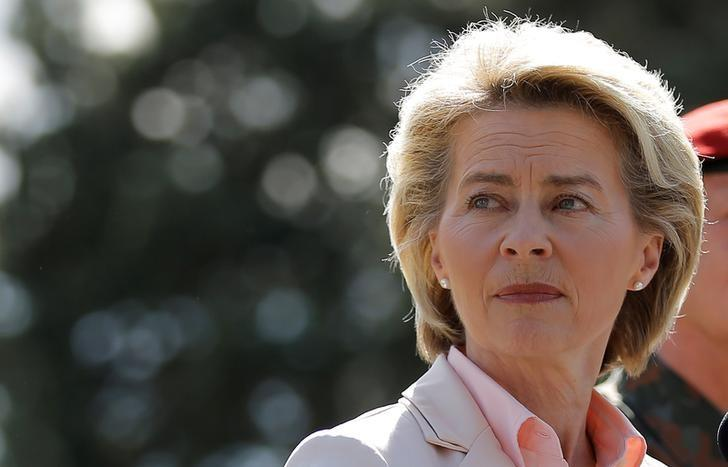 German Defence Minister Ursula von der Leyen addresses journalists, after her visit at the 291st fighter squadron based at the ''Quartier Leclerc'', a military facility for French and German military units in Illkirch-Graffenstaden near Strasbourg, France May 3, 2017. REUTERS/Vincent Kessler