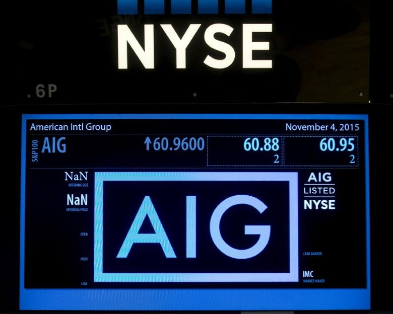 The ticker information for insurance company American International Group Inc., (AIG) is displayed on a screen above the post where it is traded on the floor of the New York Stock Exchange November 4, 2015. REUTERS/Brendan McDermid
