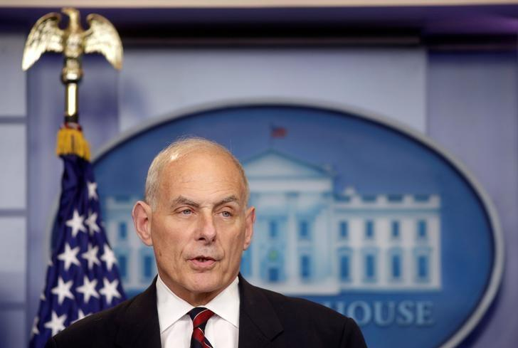 Secretary of Homeland Security John Kelly speaks about border security during a press briefing at the White House in Washington, U.S., May 2, 2017.      REUTERS/Joshua Roberts