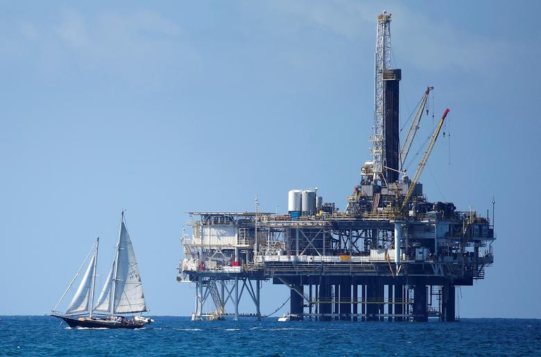 FILE PHOTO: An offshore oil platform is seen in Huntington Beach, California September 28, 2014. REUTERS/Lucy Nicholson/File Photo