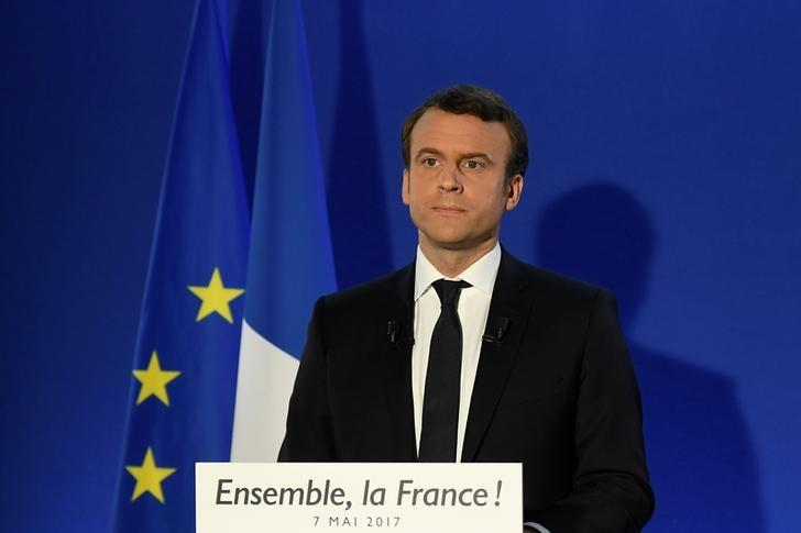 2017年5月7日,法国巴黎,当选法国总统的马克龙在其竞选总部发表演讲。REUTERS/Lionel Bonaventure