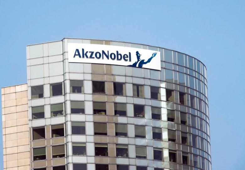 FILE PHOTO: The sign of AkzoNobel is pictured at its headquarters in Amsterdam, Netherlands, February 6, 2014.    REUTERS/Toussaint Kluiters/United Photos/File Photo