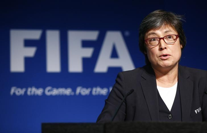 Chair of the FIFA Task Force for Women's Football Moya Dodd addresses a news conference after a meeting of the Executive Committee at FIFA's headquarters in Zurich, Switzerland December 3, 2015. REUTERS/Arnd Wiegmann/File Photo
