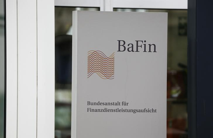 FILE PHOTO: The logo of Germany's Federal Financial Supervisory Authority BaFin (Bundesanstalt fuer Finanzdienstleistungsaufsicht) is pictured outside the former finance ministry building in Bonn, Germany, Germany, April 5, 2016.      REUTERS/Wolfgang Rattay