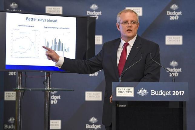 5月9日、オーストラリア政府は4年以内に財政収支を小幅ながら黒字に転換させる方針を示した。写真は会見するモリソン財務相。提供写真(2017年 ロイター/AAP/Lukas Coch/via REUTERS)