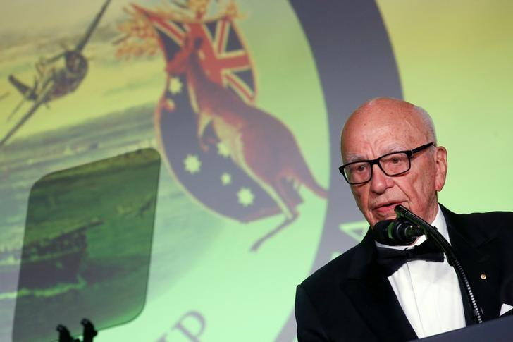 FILE PHOTO - News Corp CEO Rupert Murdoch delivers remarks at an event commemorating the 75th anniversary of the Battle of the Coral Sea, aboard the USS Intrepid Sea, Air and Space Museum in New York, U.S. May 4, 2017. REUTERS/Jonathan Ernst