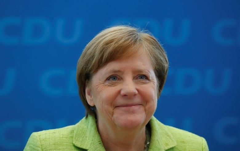 German Chancellor and leader of the Christian Democratic Union (CDU) Angela Merkel one day after state elections during a party leadership meeting in Berlin, Germany, March 27, 2017.     REUTERS/Fabrizio Bensch