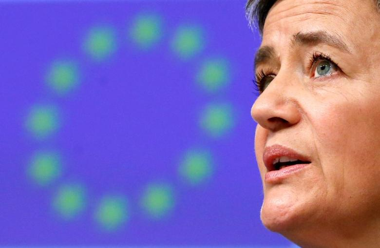 FILE PHOTO: European Competition Commissioner Margrethe Vestager holds a news conference at the EU Commission's headquarters in Brussels, Belgium March 13, 2017. REUTERS/Francois Lenoir/File Photo
