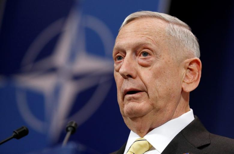 U.S. Defense Secretary Jim Mattis addresses a news conference during a NATO defence ministers meeting at the Alliance headquarters in Brussels, Belgium, February 16, 2017. REUTERS/Francois Lenoir