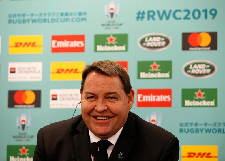 New Zealand head coach Steve Hansen attends a news conference after the Rugby World Cup 2019 pool draw at Kyoto State Guest House in Kyoto, Japan May 10, 2017. REUTERS/Issei Kato