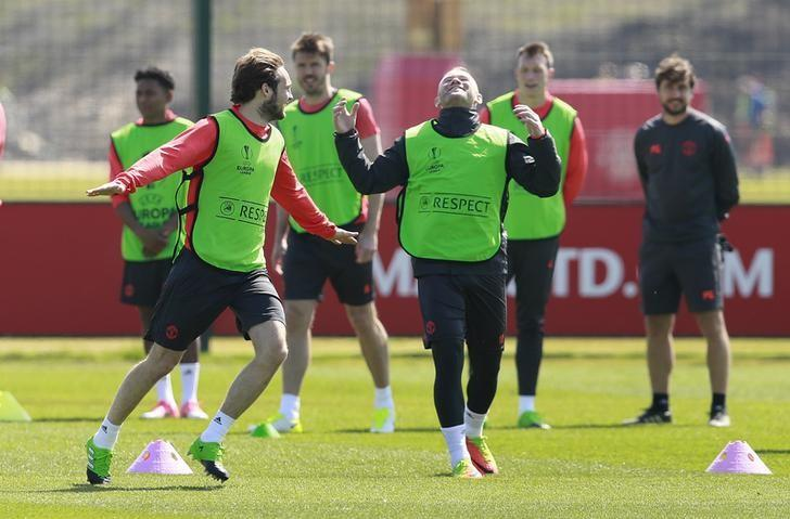 Britain Football Soccer - Manchester United Training - Manchester United Training Ground, Manchester, England - 10/5/17 Manchester United's Wayne Rooney and Daley Blind during training  Action Images via Reuters / Jason Cairnduff Livepic