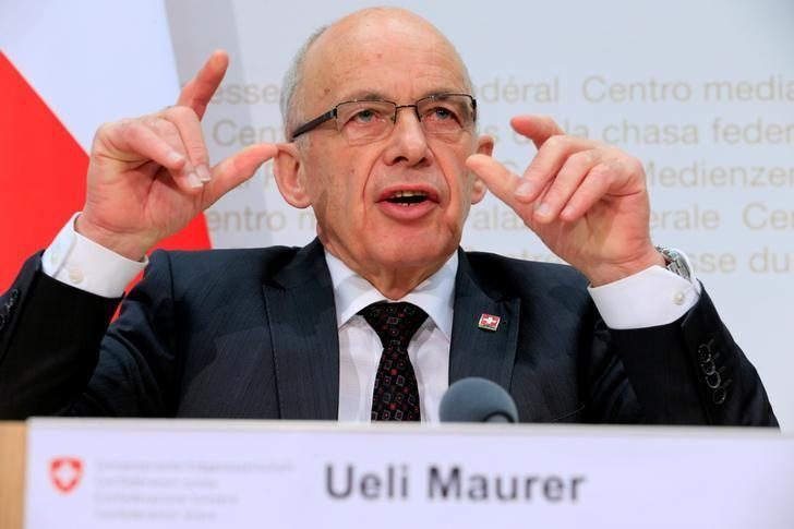 Swiss Finance Minister Ueli Maurer gestures during a news conference after the vote on the Corporate Tax Reform Act III in Bern, Switzerland February 12, 2017. REUTERS/Pierre Albouy