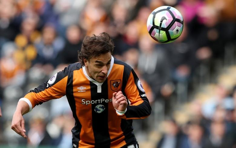 Britain Soccer Football - Hull City v Watford - Premier League - The Kingston Communications Stadium - 22/4/17 Hull City's Lazar Markovic scores their first goal  Reuters / Scott Heppell Livepic