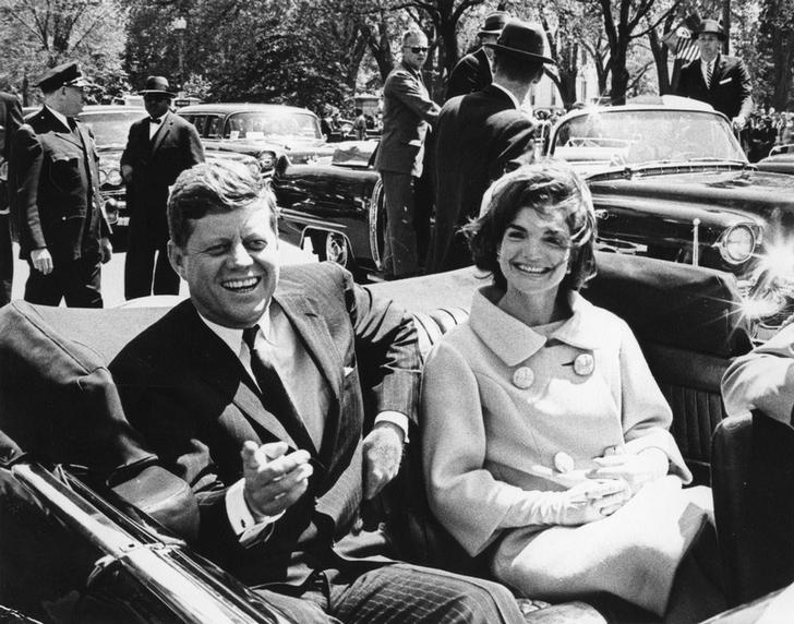Former United States President John F. Kennedy and first lady Jackie Kennedy sit in a car in front of Blair House during the arrival ceremonies for Habib Bourguiba, president of Tunisia, in Washington, in this handout image taken on May 3, 1961.  REUTERS/Abbie Rowe/The White House/John F. Kennedy Presidential Library/Files