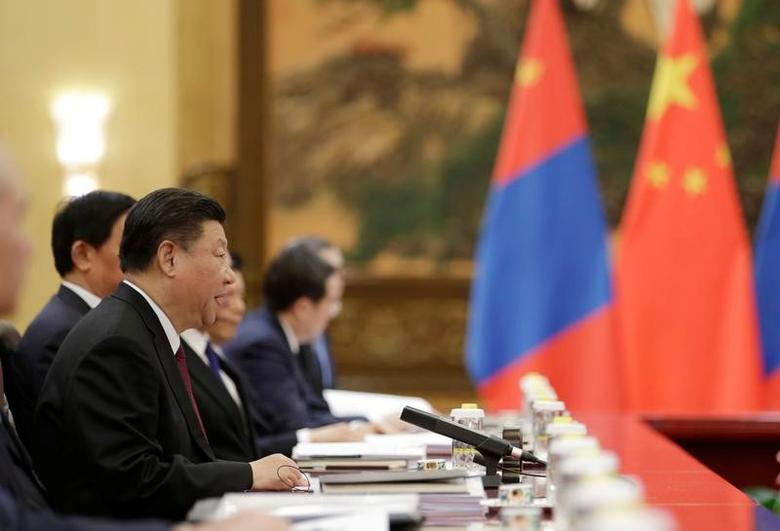 China's President Xi Jinping speaks during a meeting with Mongolian Prime Minister Jargaltulgyn Erdenebat (not pictured) ahead of the upcoming Belt and Road Forum at the Great Hall of the People, in Beijing, China May 12, 2017. REUTERS/Jason Lee -