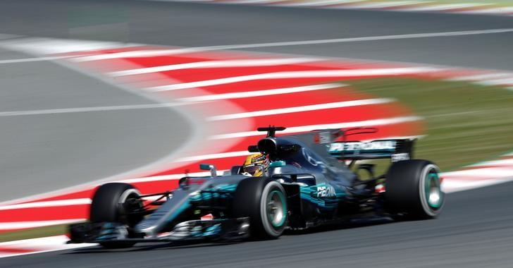 Formula One - F1 - Spanish Grand Prix - Barcelona-Catalunya racetrack, Montmelo Spain - 12/05/17 - Mercedes' Lewis Hamilton in action during the first free practice. REUTERS/Albert Gea