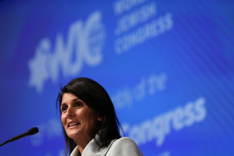 U.S. Ambassador to the United Nations Nikki Haley addresses the 15th Plenary Assembly of the World Jewish Congress in New York City, U.S., April 25, 2017. REUTERS/Shannon Stapleton